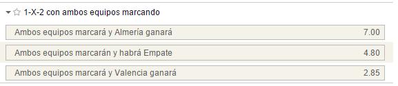 Mercados 1x2 con ambos equipos marcando en el Almería-Valencia