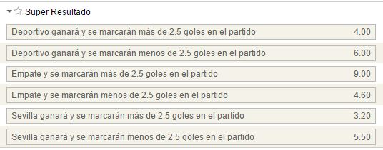 Mercados de Súper Resultado en el Deportivo - Sevilla.