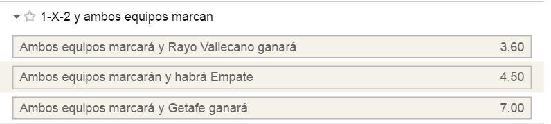 Mercado 1x2 con goles por parte de ambos equipos en el Rayo - Getafe.
