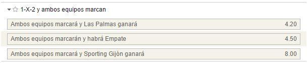 Mercado de 1x2 con goles por parte de ambos equipos en el Las Palmas - Sporting.