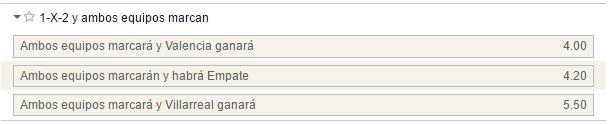 Mercado de 1x2 con goles por parte de ambos equipos en el Valencia - Villarreal.