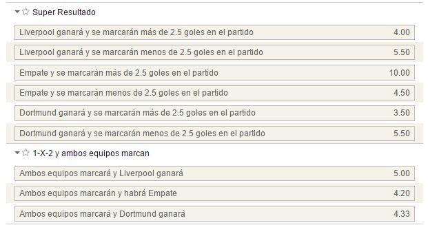 Mercados de Súper resultado y 1x2 con goles por parte de ambos equipos en el Liverpool - Dortmund.