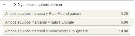 Mercado de 1x2 con goles por parte de ambos equipos en el Real Madrid - Manchester City.