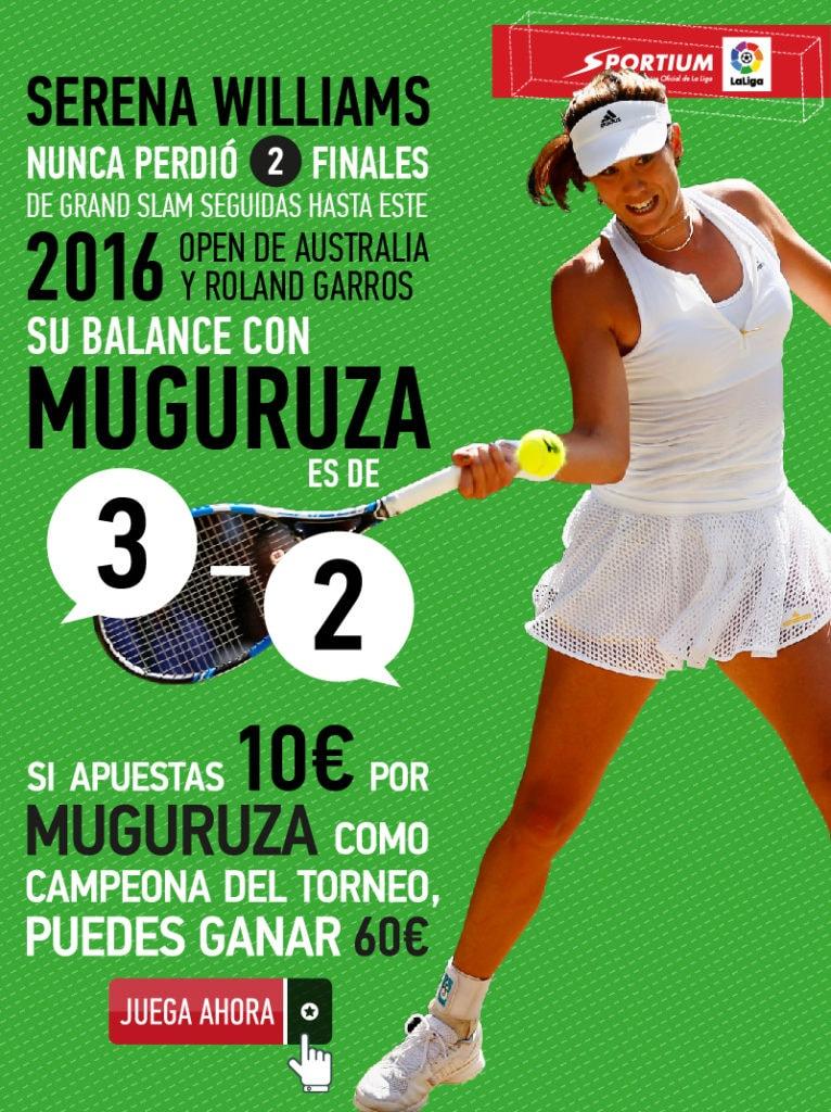 Muguruza es la gran aspirante al trono de Serena Williams en Wimbledon