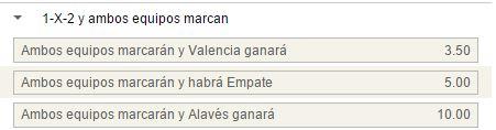 Mercado de 1x2 con goles por parte de ambos ambos en el Valencia - Alavés.