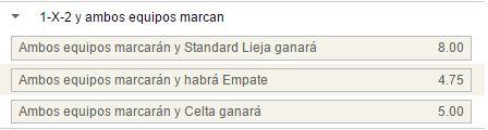Mercados de 1x2 con goles por parte de ambos equipos en el Standard - Celta.