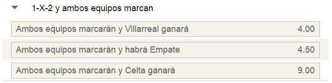 Mercado de 1x2 con goles por parte de ambos equipos en el Villarreal - Celta.