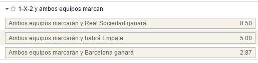 Mercado de 1x2 con goles por parte de ambos equipos en el Real Sociedad - Barcelona.