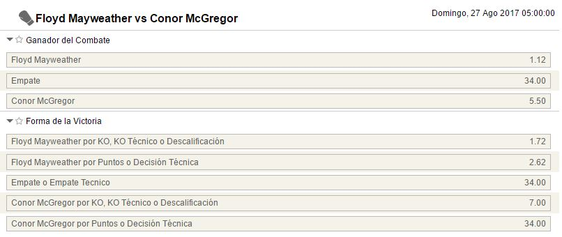 Mercados de apuestas para el Mayweather - McGregor.