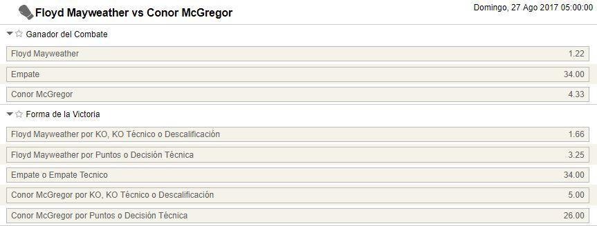 Algunos de los mercados disponibles en las apuestas al Mayweather - McGregor.