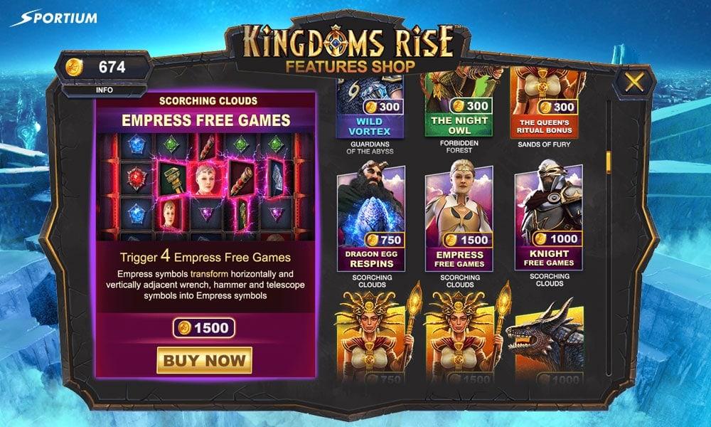 Pantalla de compra de funciones en Kingdoms Rise slot
