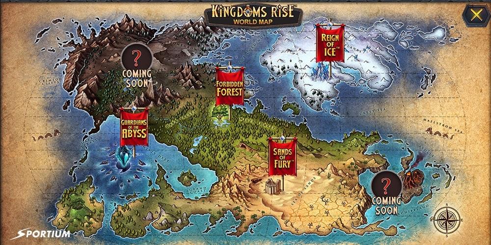 Mapa con ubicaciones de juegos Kingdoms Rise slot